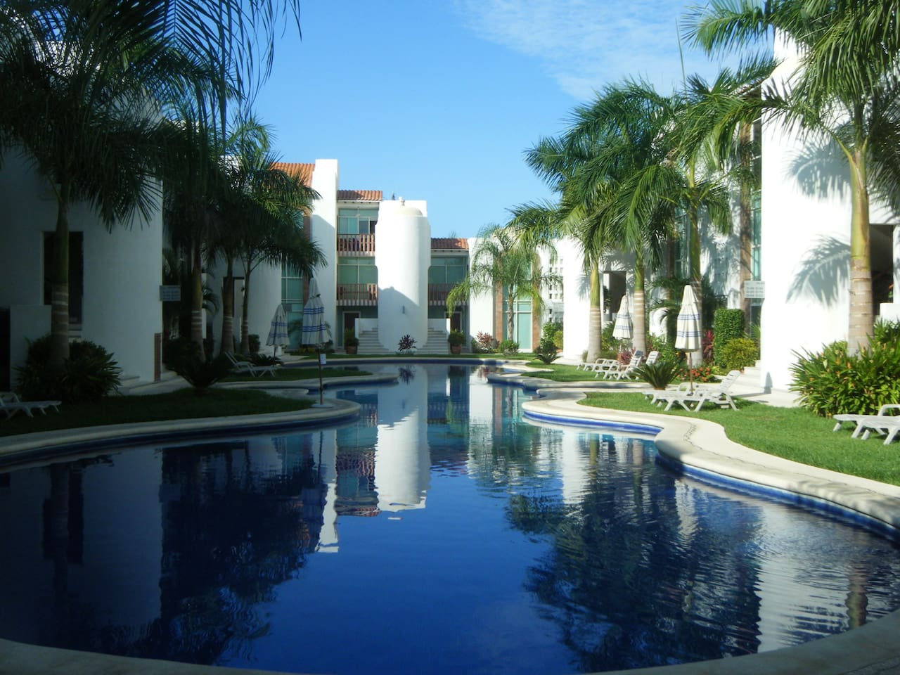 Condo units and pool area