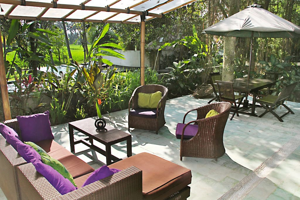 chill out next on your private patio over looking the pool and rice paddys....