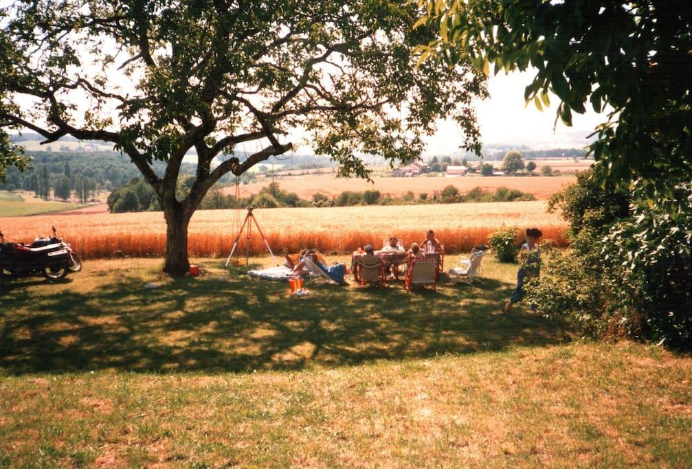 Sunny Summer day relaxing in garden terrace alongside La Grange