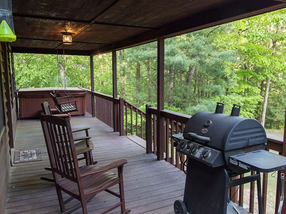 Covered deck allows for relaxing and bbq's in all weather