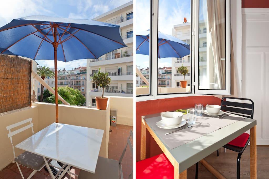 terrasse et table sejour