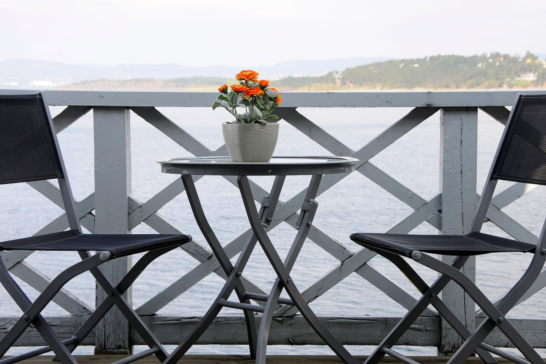 Balcony overlooking the sea outside