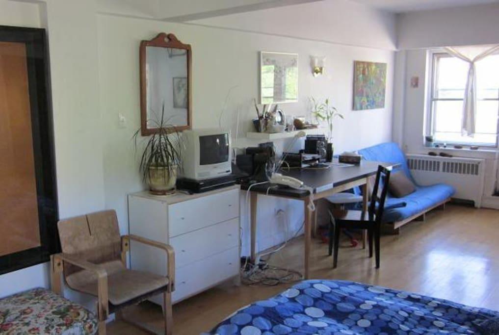 Dresser, desk, couch