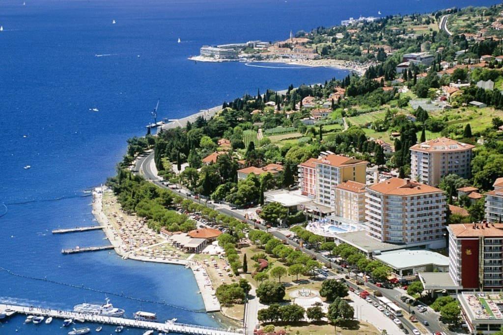 Portorož from the air (looking West towards Bernardin and Piran)