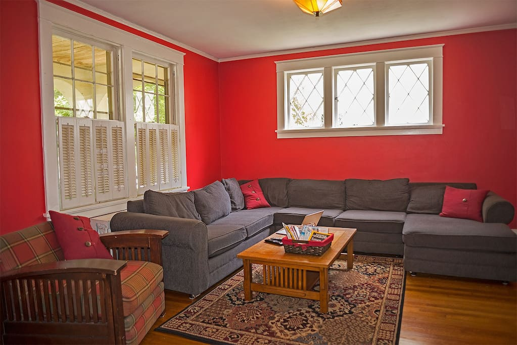 The family room can accomodate a large group for watching a game or a movie.