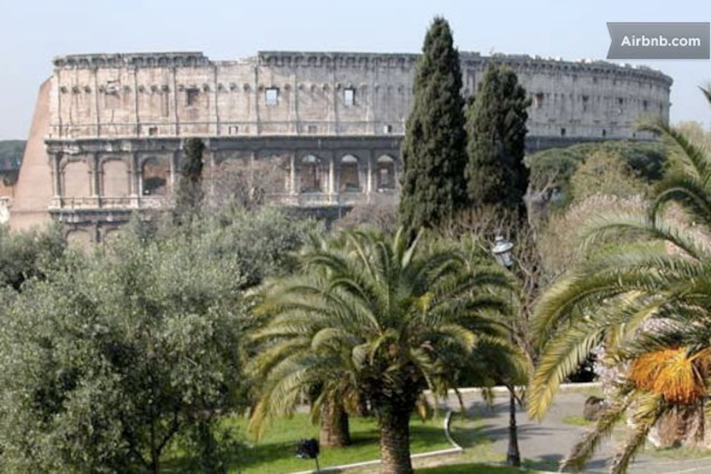The Colle Oppio park with Colosseum. The park is located in front of the apartment.