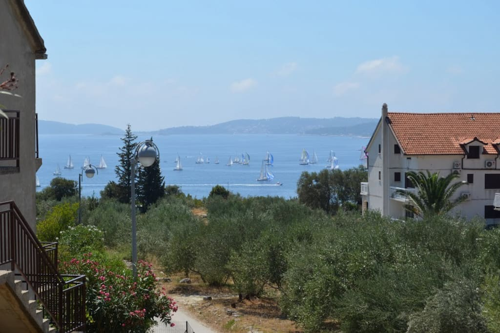View from the garden. Straight down are ferry dock and town center.