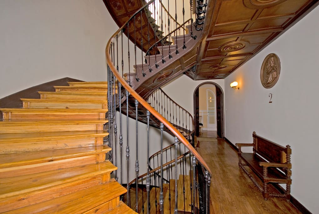 Stairs, partial view, and front door