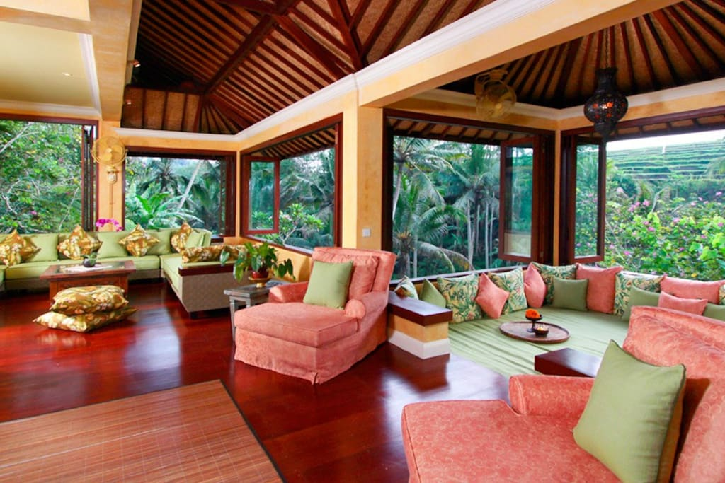 Sitting area for family or friend to gather with rice field view
