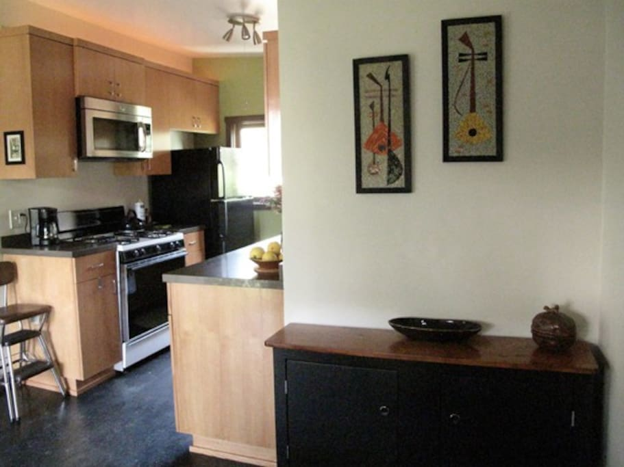 another view of the kitchen from the dining area