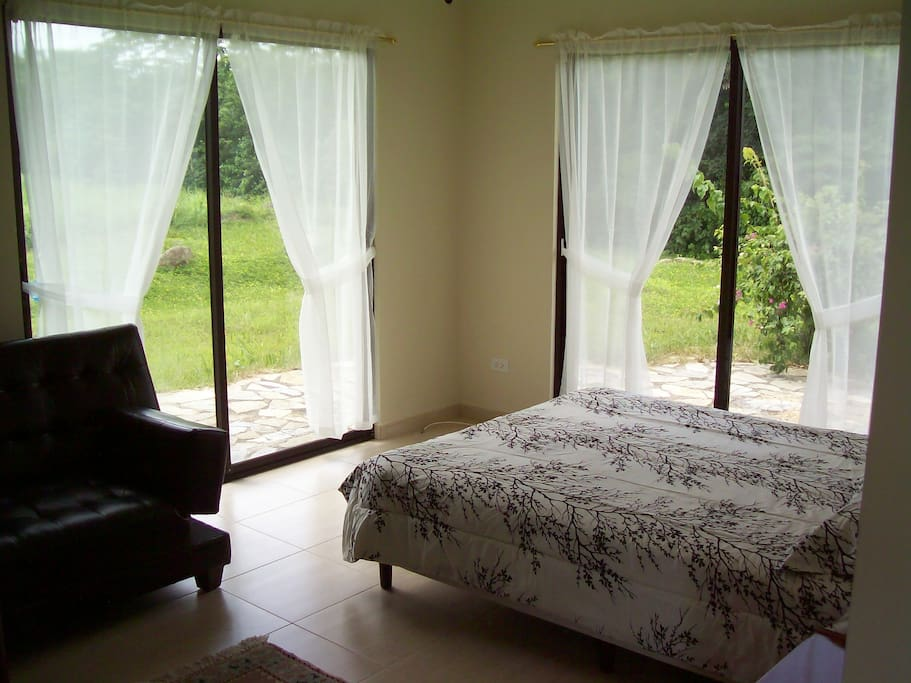 Bedroom and Sitting area. the left window looks directly at 11,500 ft. Volcan Baru