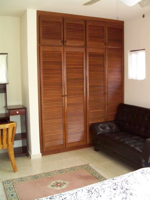 Hardwood louvered doors (closet area) and sitting area