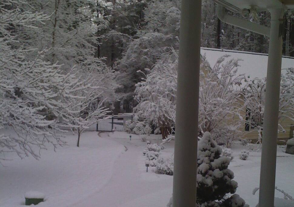 Same view of the pool house from the main house... we are lucky if we get one good snow covering per year!