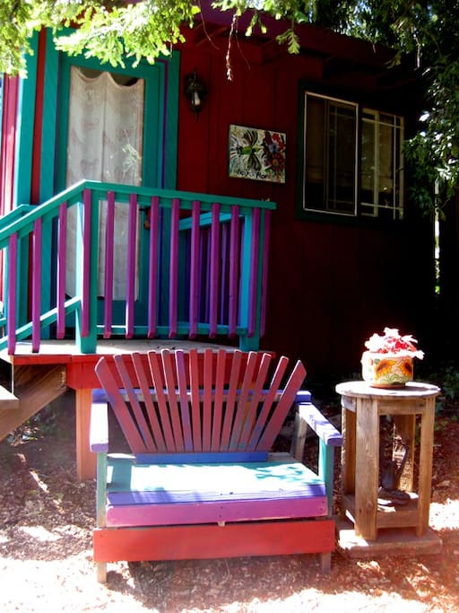 Bench outside to enjoy morning coffee or tea and listen to sounds of nature