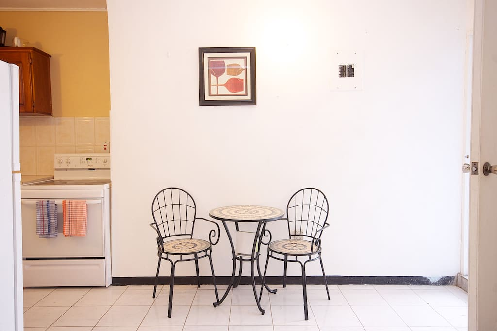 Perfect little space for having a cup of coffee or a glass of wine. All necessary equipment and utensils for both are included!