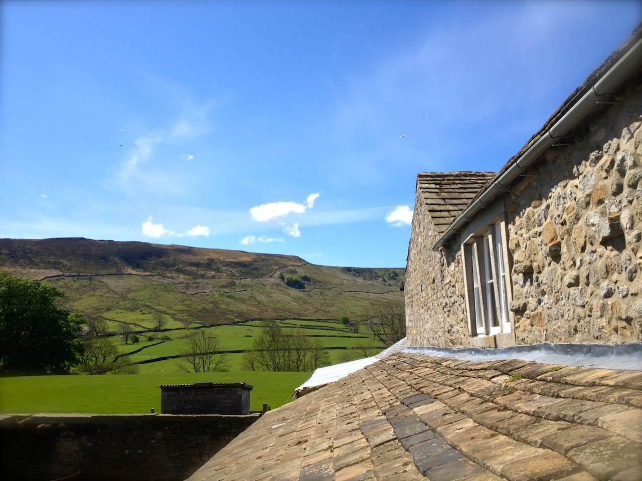 The cottage and Burnsall Fell