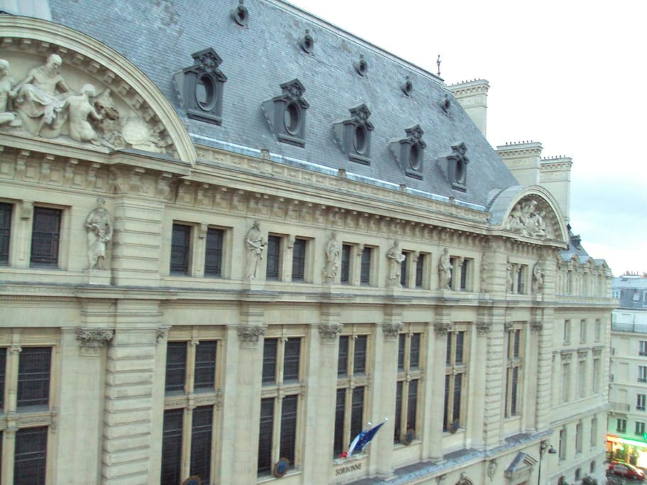 From the balcon ,A right side open view of a historical monument the oldest university Sorbonne