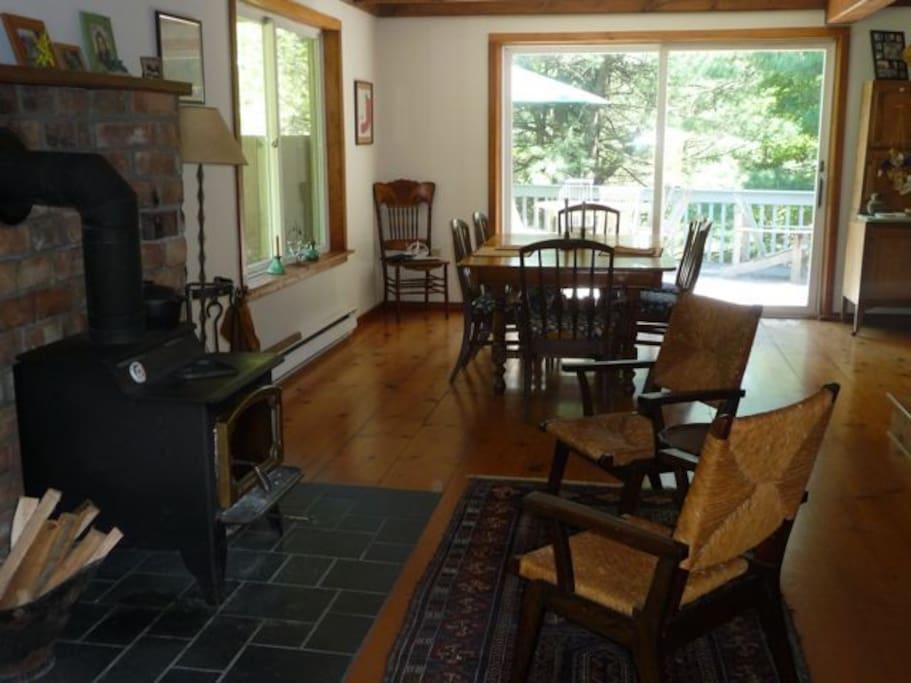 Woodburning stove, dining room