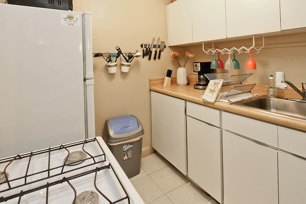 The kitchen is small, but has a stove, microwave, refrigerator, and appliances.