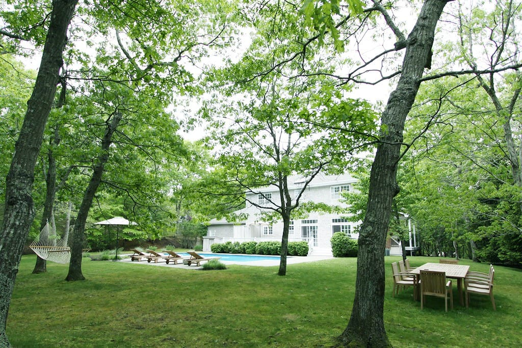 Huge pool and backyard surrounded by trees. Very private and quite.