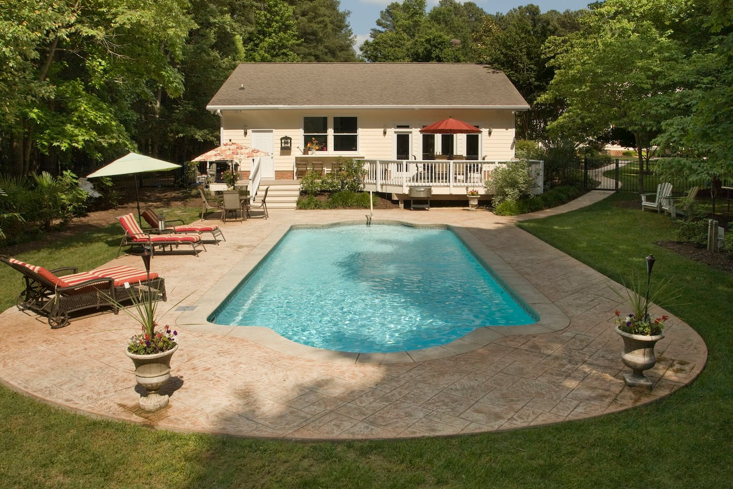 Pool House in Chapel Hill. Pool is usually open from the End of April through the End of September.