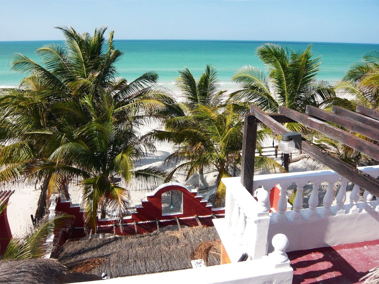Stunning View on the Prestine Beach of El Cuyo, seen from the Beachfront terrace , near Holbox