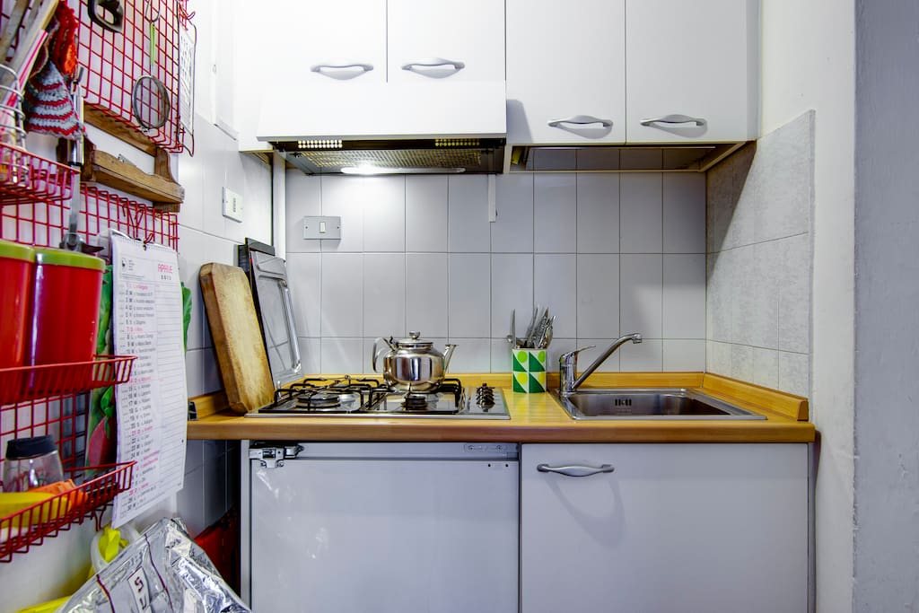 the kitchenette, complete with everything needed in order to cook