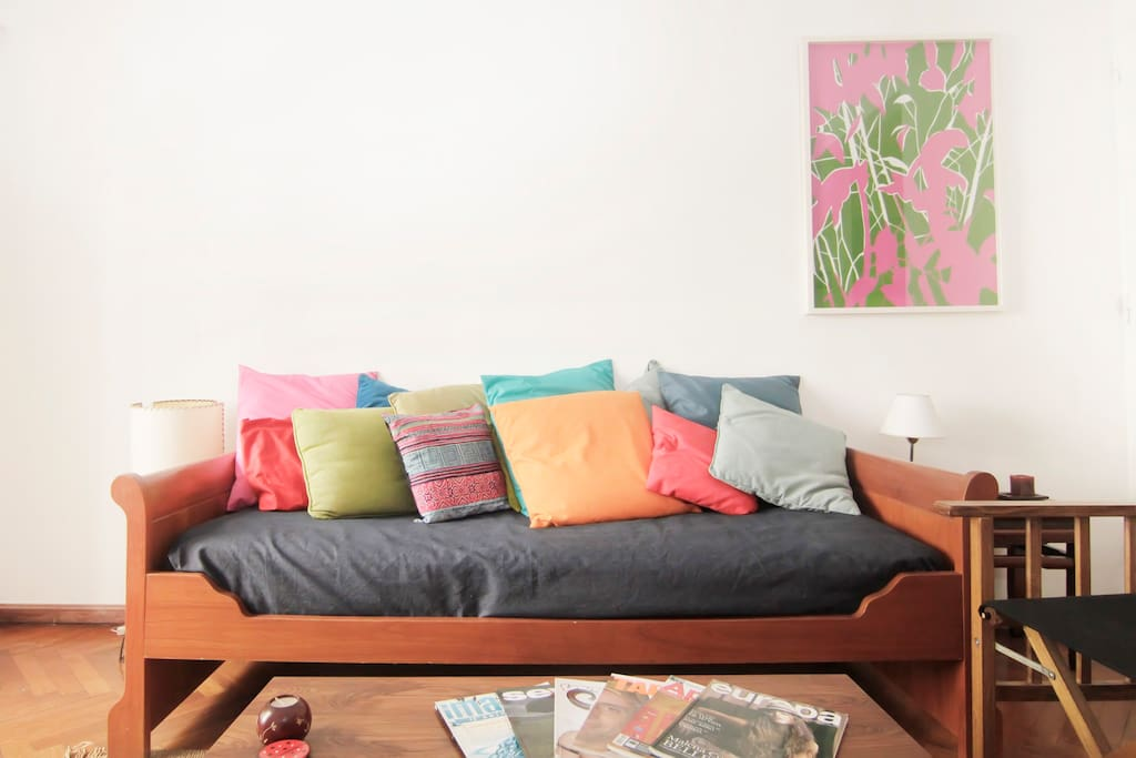 The colorful living room