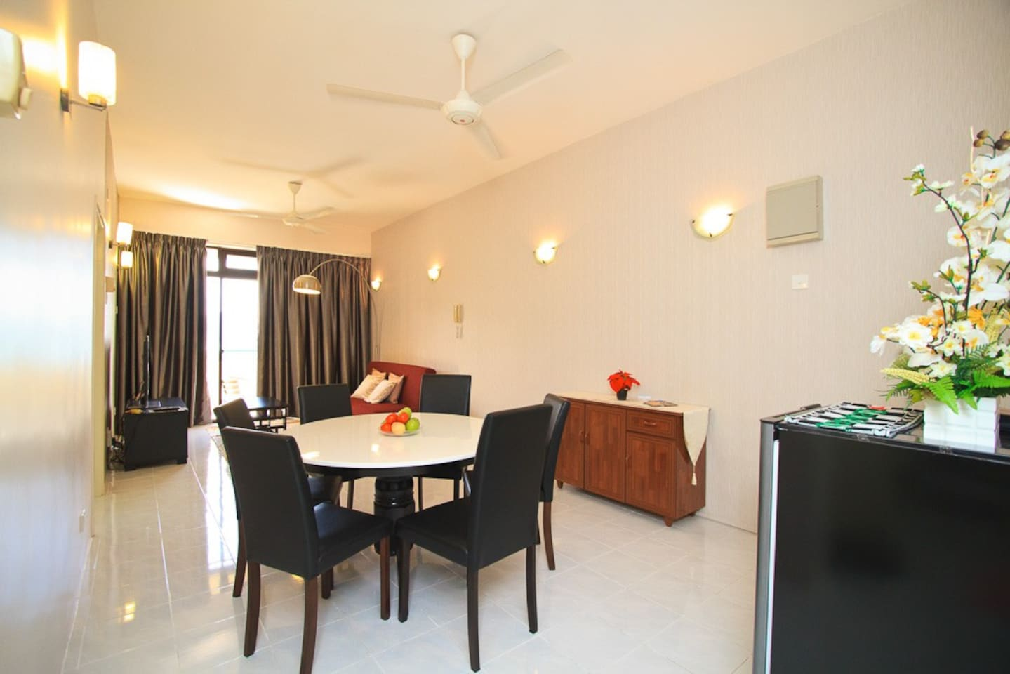 A warm and inviting living room for reading, watching TV or just sitting down at the dinning table enjoying meals