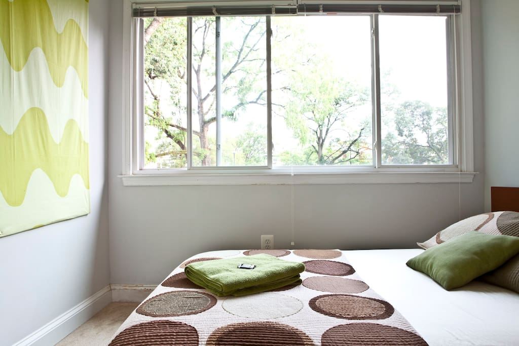 Full size bed with memory foam mattress. Bamboo towels and sheets and a mint on your pillow.