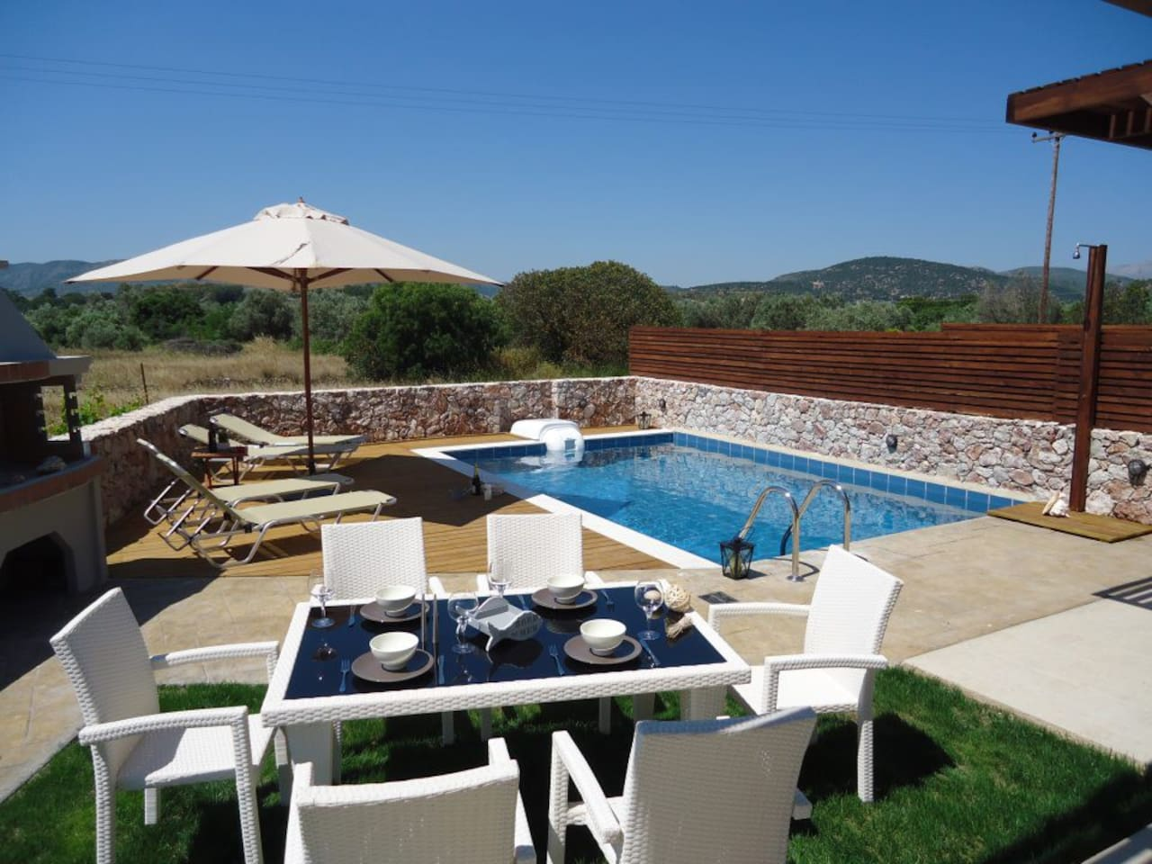 Private pool area and outdoor facilities