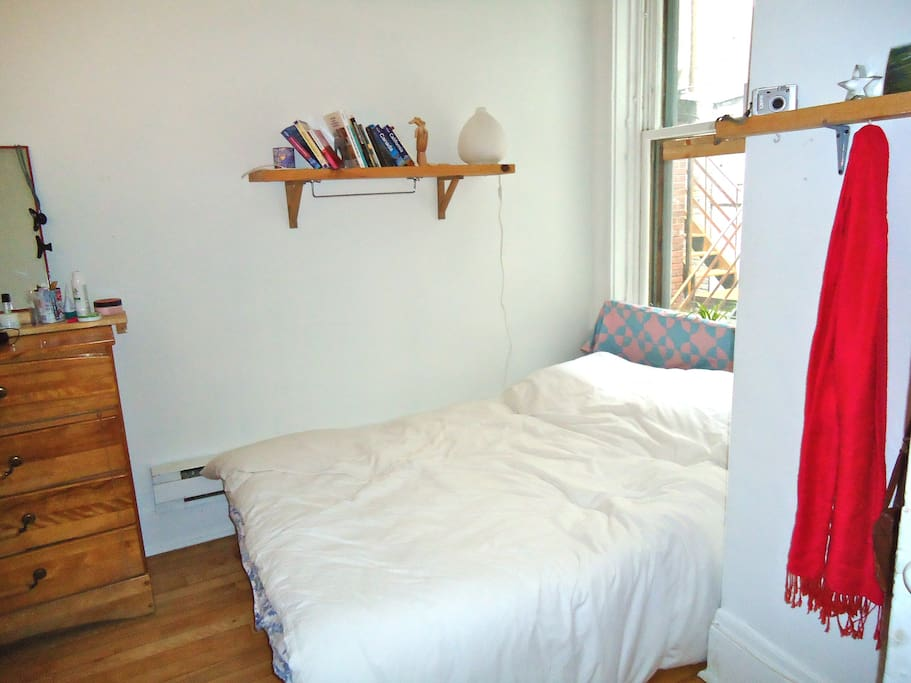 bedroom, double bed, window looking out into courtyard