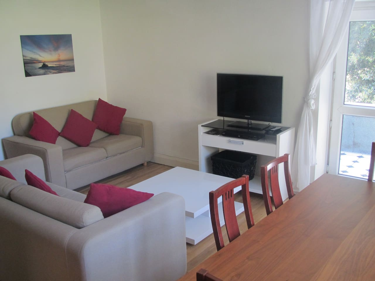 Lounge with 2 Sofas (1 a Sofa Bed) LED TV and Blu Ray Player