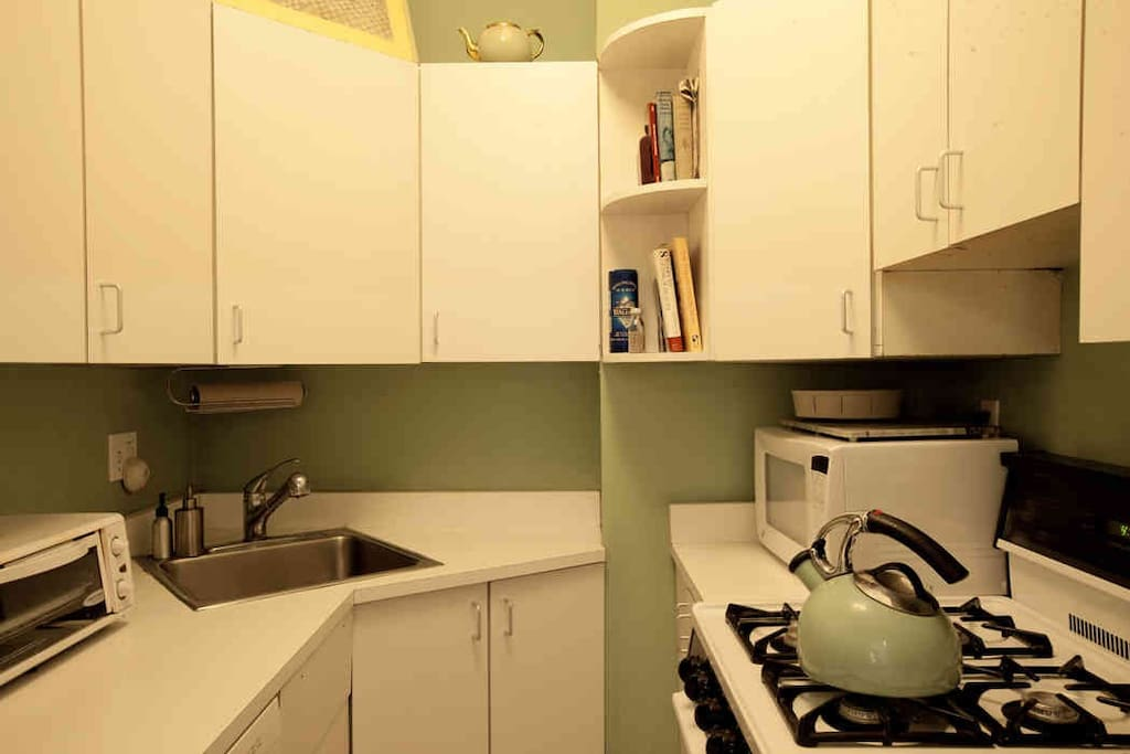 Well equipped galley style kitchen.