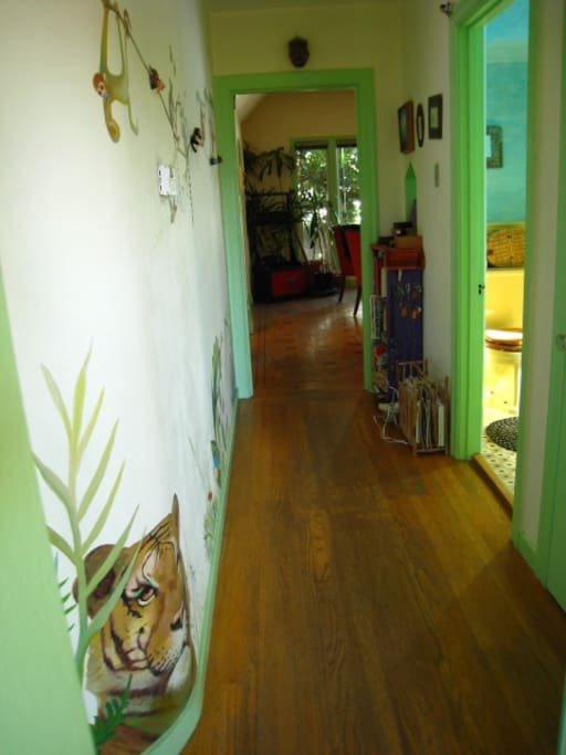 Hallway with mural