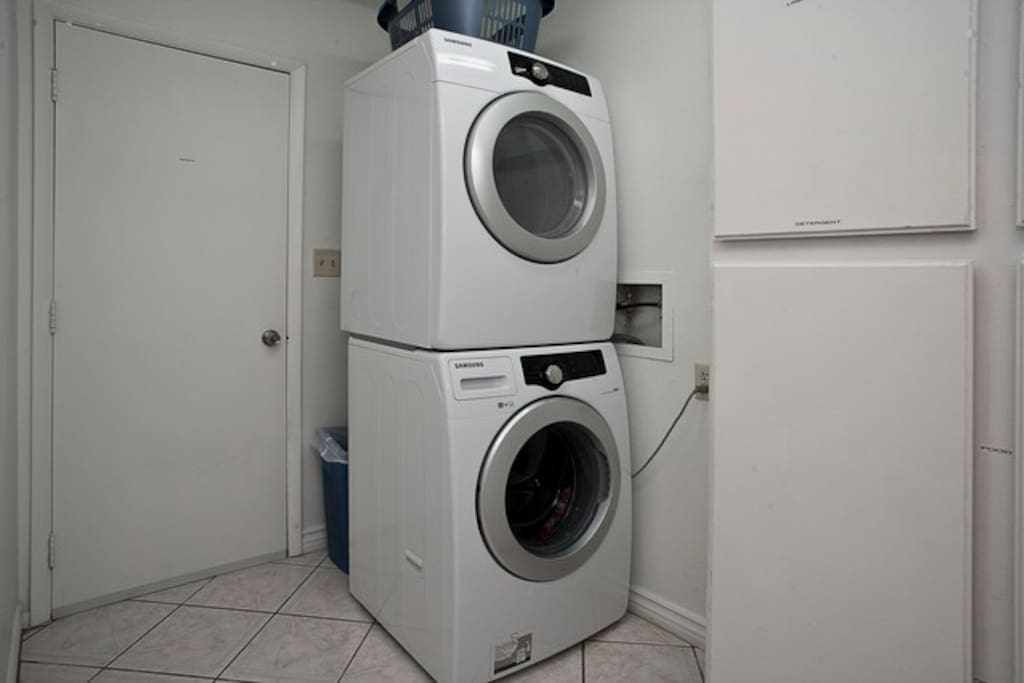 Laundry Area: Washer, dryer and detergent, dryer sheets