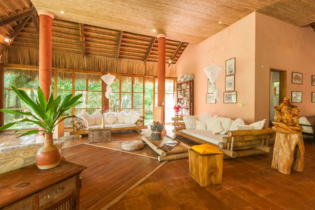 The beautifully handcrafted bamboo sofas in the living room.