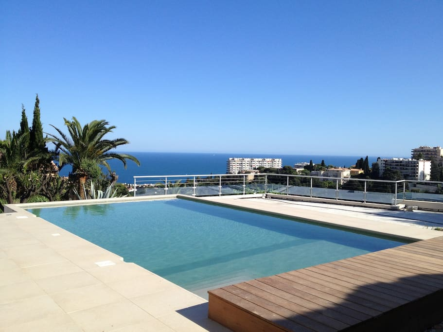 The view from the pool. Large sun deck (ca 85 sqm) to the right.