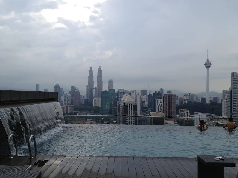 Morning View : sky pool at regalia service apartment