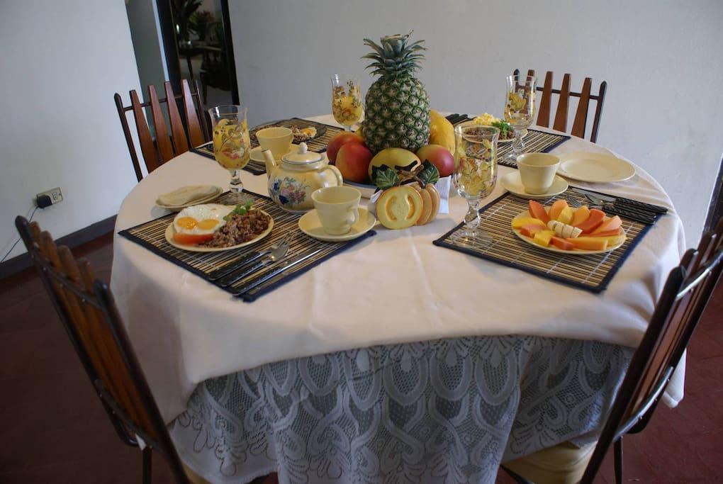 Fruit plate, orange juice, coffee