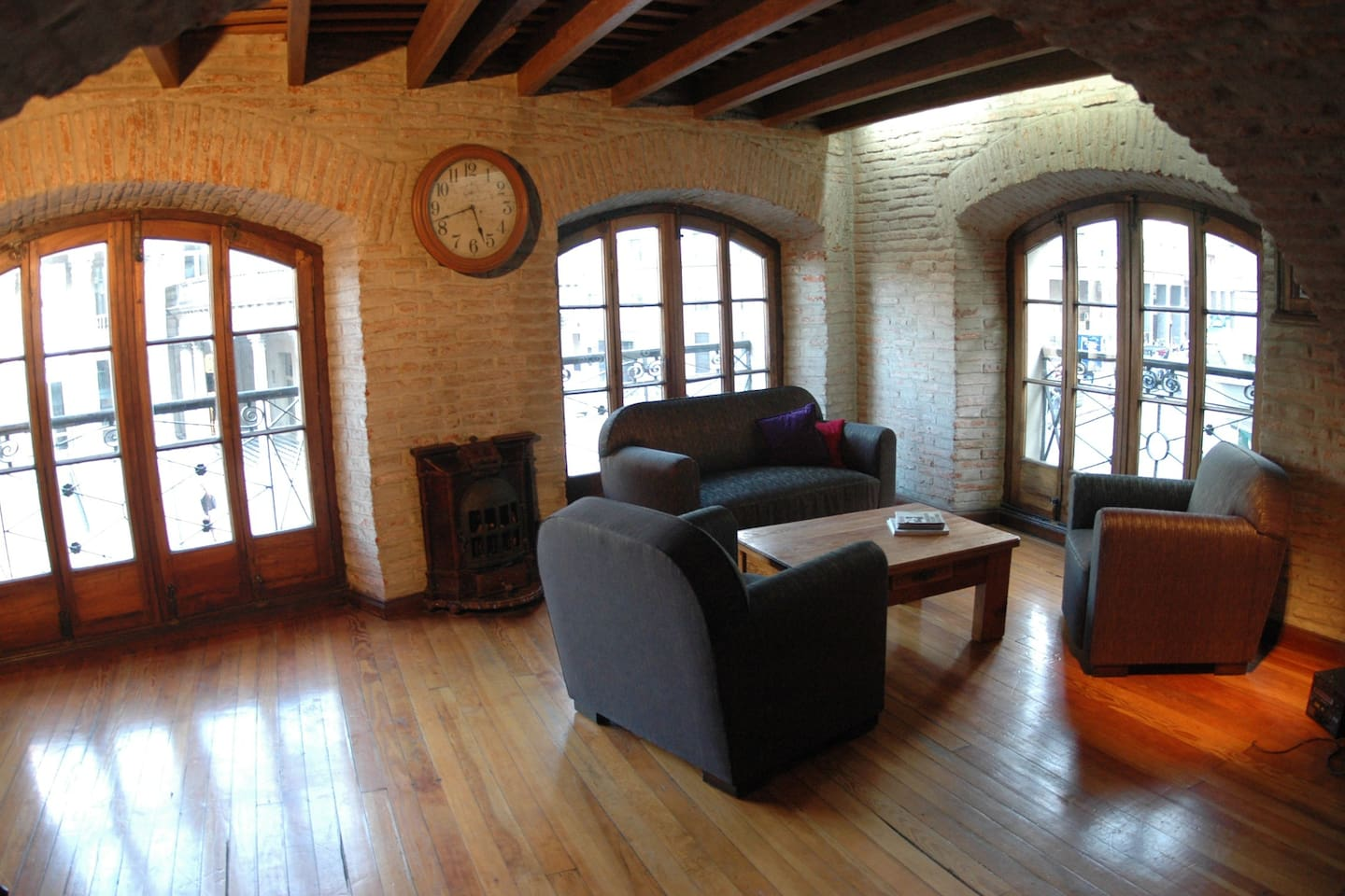 This is the living area, what you see behind is the historical Solis Theatre