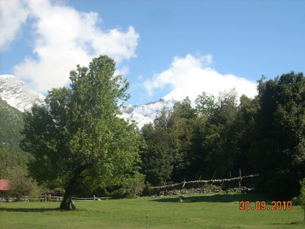 This is the pasture between the smaller cabins and the house.