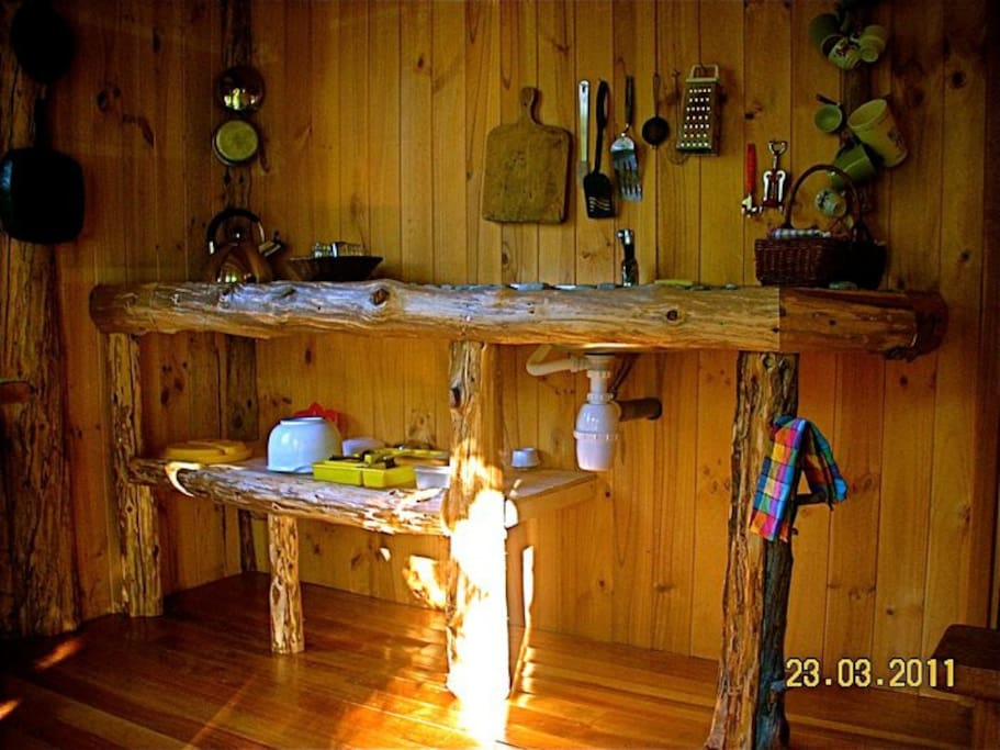 This is the kitchen in the small cabin.