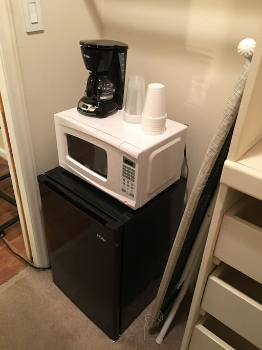 Your own fridge, microwave and coffee maker. Need to brin your own brew.