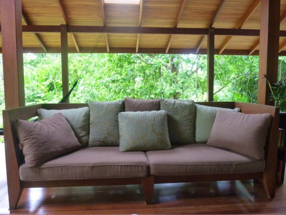 Relax on one of the deep couches, or a hammock