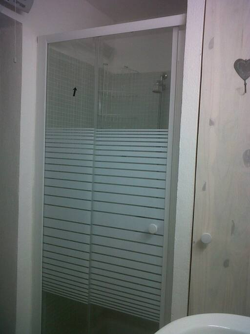 Bathroom  with shower, basin and wc.