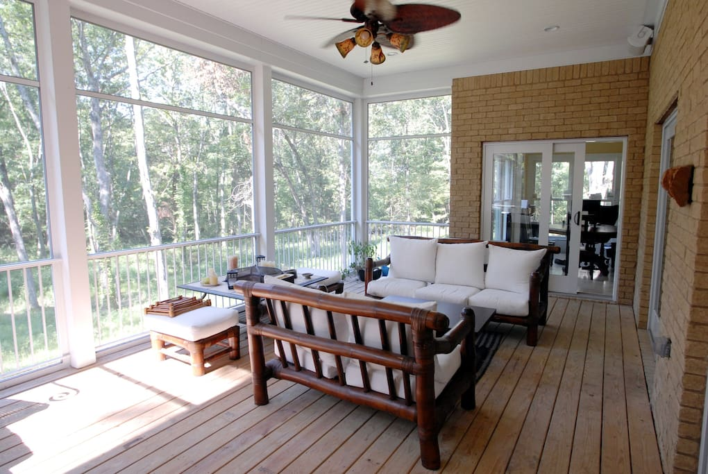 Screened in patio - possibly the best room in the house. Beautiful sunsets.