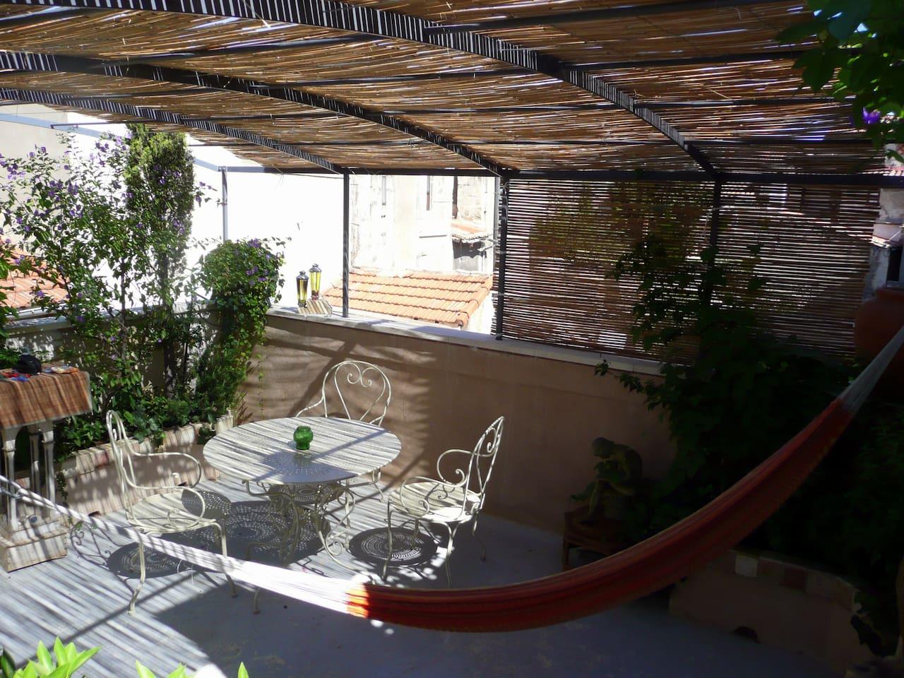 terrasse verdoyante sur les toits