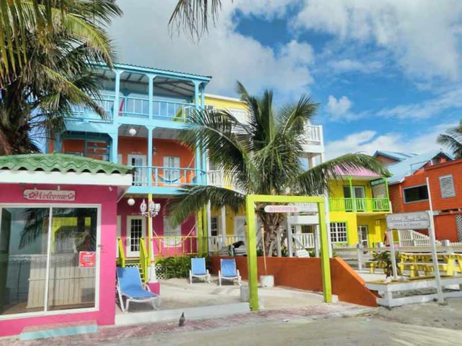 We are the colorful building on the beach!
