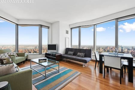 Luxury modern one bedroom apartment with stunning views of the Brooklyn Bridge and the East River from the 61st Floor of the iconic Gehry building.  All modern fixtures and fittings, washer dryer, plenty of storage.  Additional futon bed in lounge.